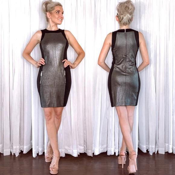 Michael Kors Dresses & Skirts - Michael Kors Black Metallic Silver Mini Dress